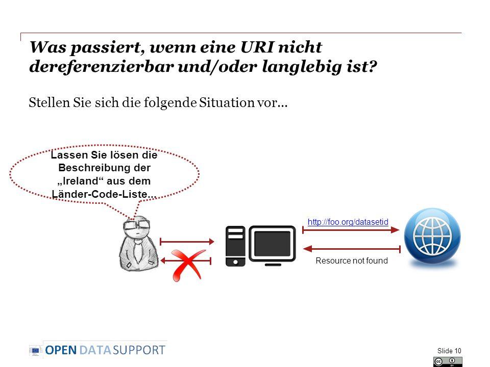 Was passiert, wenn eine URI nicht dereferenzierbar und/oder langlebig ist? Stellen Sie sich die folgende Situation vor... Slide 10 http://foo.org/data