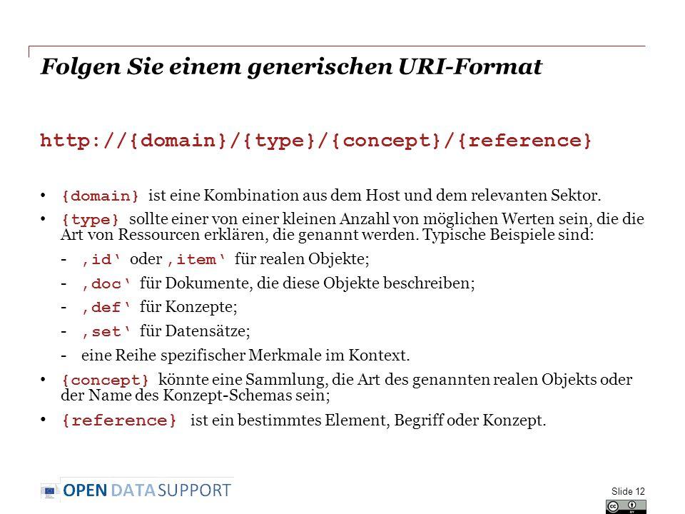 Folgen Sie einem generischen URI-Format http://{domain}/{type}/{concept}/{reference} {domain} ist eine Kombination aus dem Host und dem relevanten Sek