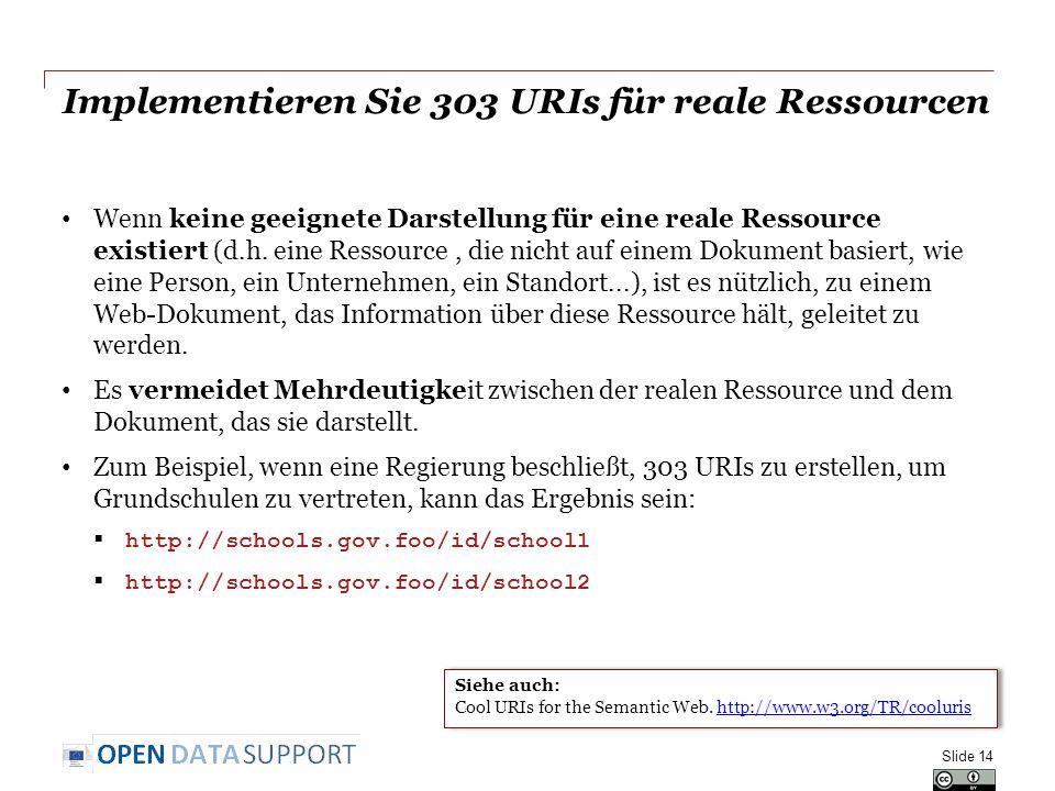 Implementieren Sie 303 URIs für reale Ressourcen Wenn keine geeignete Darstellung für eine reale Ressource existiert (d.h. eine Ressource, die nicht a