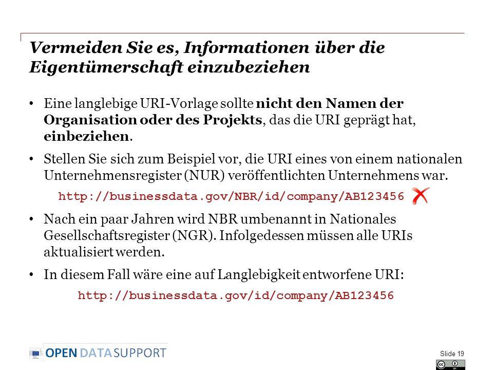 Vermeiden Sie es, Informationen über die Eigentümerschaft einzubeziehen Eine langlebige URI-Vorlage sollte nicht den Namen der Organisation oder des P