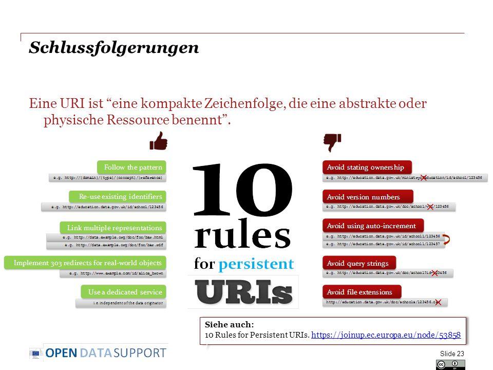 """Schlussfolgerungen Eine URI ist """"eine kompakte Zeichenfolge, die eine abstrakte oder physische Ressource benennt"""". Slide 23 Siehe auch: 10 Rules for P"""