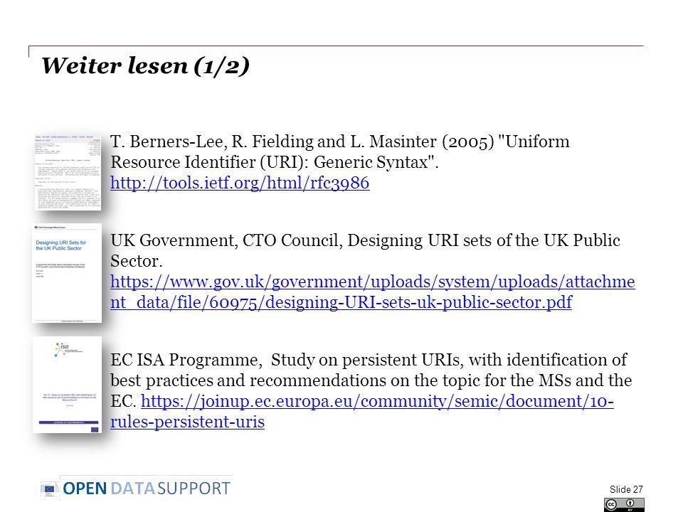 Weiter lesen (1/2) T. Berners-Lee, R. Fielding and L. Masinter (2005)