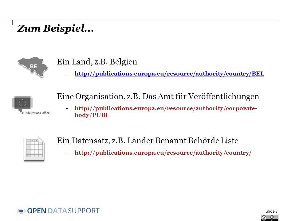 Zum Beispiel... Ein Land, z.B. Belgien -http://publications.europa.eu/resource/authority/country/BELhttp://publications.europa.eu/resource/authority/c