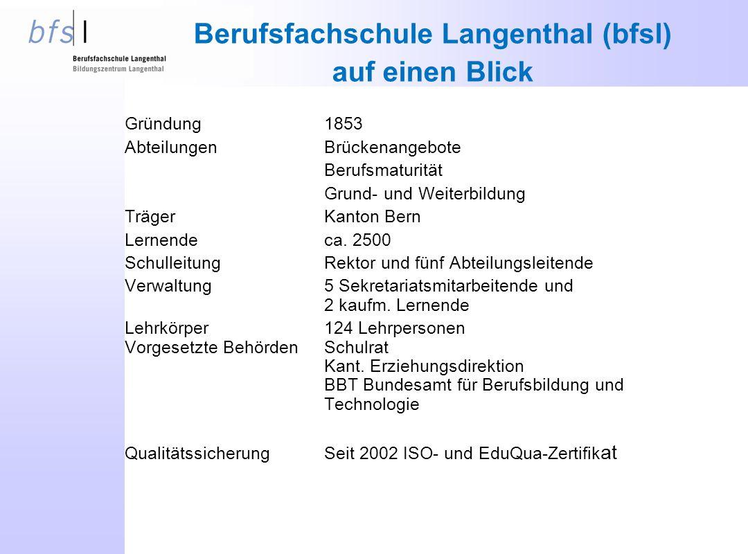 Berufsfachschule Langenthal (bfsl) auf einen Blick Gründung1853 AbteilungenBrückenangebote Berufsmaturität Grund- und Weiterbildung TrägerKanton Bern