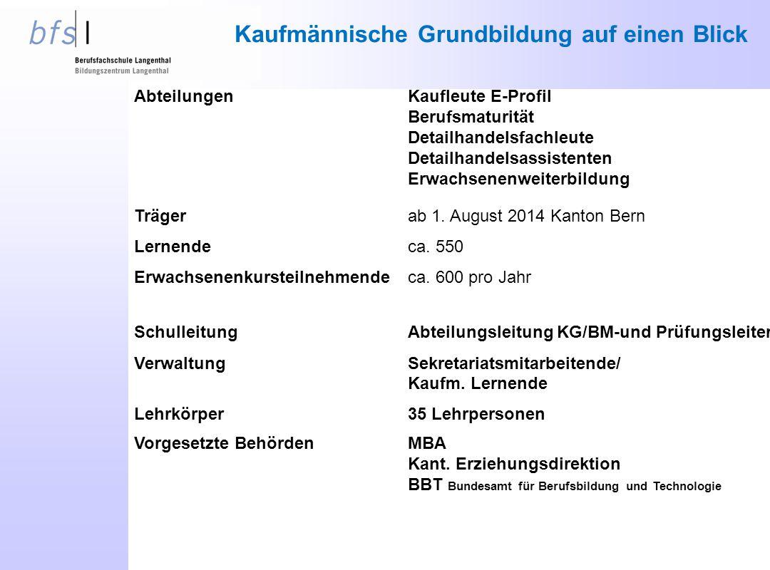 Trägerab 1. August 2014 Kanton Bern Lernendeca. 550 Erwachsenenkursteilnehmendeca. 600 pro Jahr AbteilungenKaufleute E-Profil Berufsmaturität Detailha