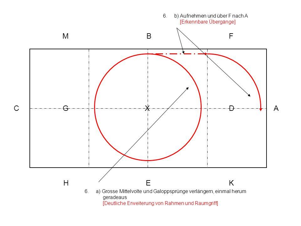 6.a) Grosse Mittelvolte und Galoppsprünge verlängern, einmal herum geradeaus [Deutliche Erweiterung von Rahmen und Raumgriff] 6.b) Aufnehmen und über