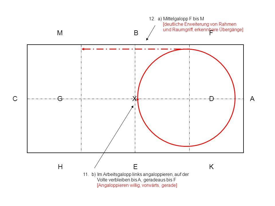 11. b) Im Arbeitsgalopp links angaloppieren, auf der Volte verbleiben bis A, geradeaus bis F [Angaloppieren willig, vorwärts, gerade] 12. a) Mittelgal