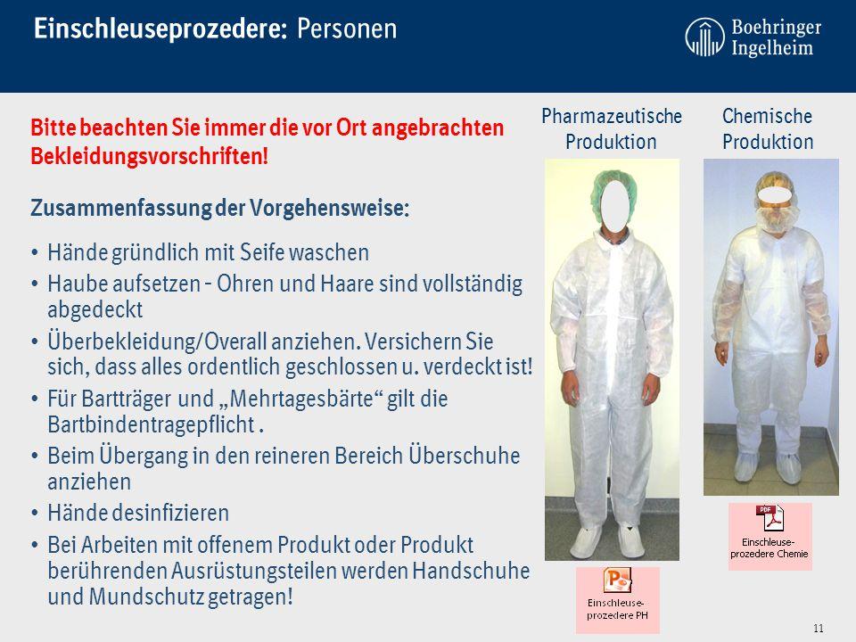 Einschleuseprozedere: Personen Bitte beachten Sie immer die vor Ort angebrachten Bekleidungsvorschriften! Zusammenfassung der Vorgehensweise: Hände gr
