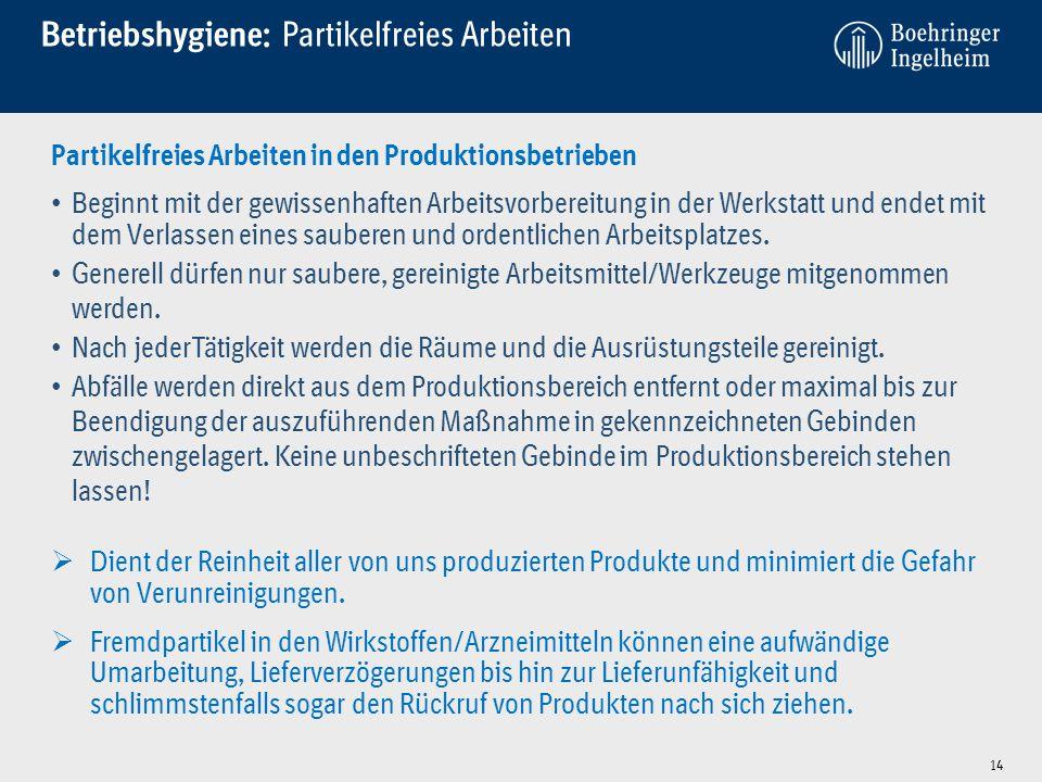 Betriebshygiene: Partikelfreies Arbeiten 14 Partikelfreies Arbeiten in den Produktionsbetrieben Beginnt mit der gewissenhaften Arbeitsvorbereitung in