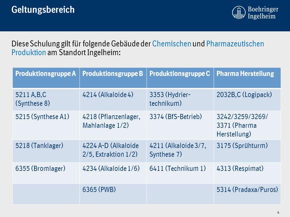 Geltungsbereich Diese Schulung gilt für folgende Gebäude der Chemischen und Pharmazeutischen Produktion am Standort Ingelheim: 4 Produktionsgruppe AProduktionsgruppe BProduktionsgruppe CPharma Herstellung 5211 A,B,C (Synthese 8) 4214 (Alkaloide 4)3353 (Hydrier- technikum) 2032B,C (Logipack) 5215 (Synthese A1)4218 (Pflanzenlager, Mahlanlage 1/2) 3374 (BfS-Betrieb)3242/3259/3269/ 3371 (Pharma Herstellung) 5218 (Tanklager)4224 A-D (Alkaloide 2/5, Extraktion 1/2) 4211 (Alkaloide 3/7, Synthese 7) 3175 (Sprühturm) 6355 (Bromlager)4234 (Alkaloide 1/6)6411 (Technikum 1)4313 (Respimat) 6365 (PWB)5314 (Pradaxa/Puros)