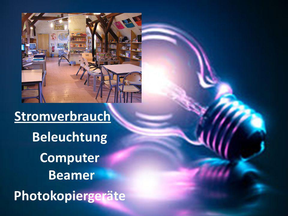 Stromverbrauch Beleuchtung Computer Beamer Photokopiergeräte