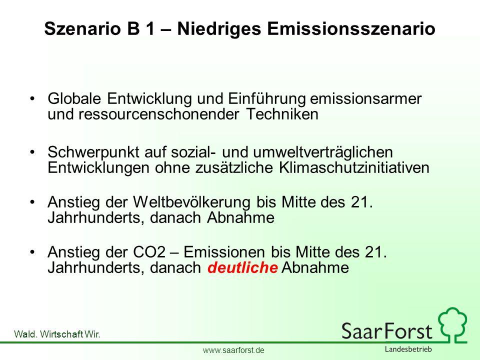 www.saarforst.de Wald. Wirtschaft Wir. Szenario B 1 – Niedriges Emissionsszenario Globale Entwicklung und Einführung emissionsarmer und ressourcenscho
