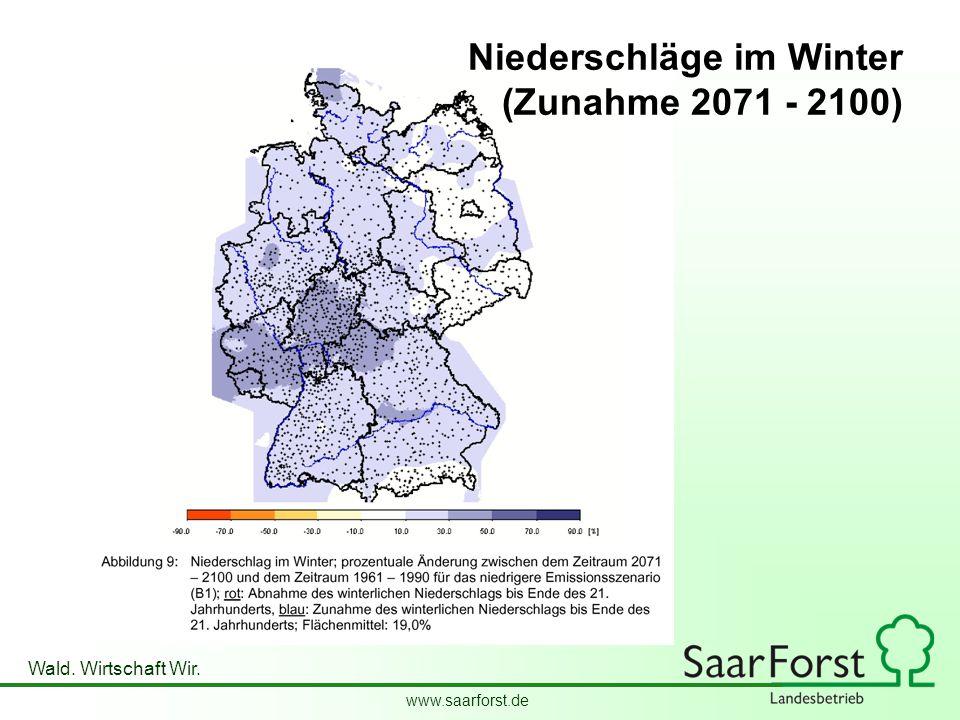 www.saarforst.de Wald. Wirtschaft Wir. Niederschläge im Winter (Zunahme 2071 - 2100)