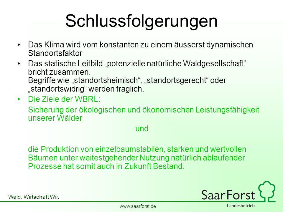 www.saarforst.de Wald. Wirtschaft Wir. Schlussfolgerungen Das Klima wird vom konstanten zu einem äusserst dynamischen Standortsfaktor Das statische Le
