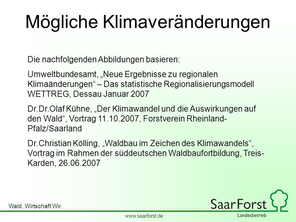 """www.saarforst.de Wald. Wirtschaft Wir. Mögliche Klimaveränderungen Die nachfolgenden Abbildungen basieren: Umweltbundesamt, """"Neue Ergebnisse zu region"""