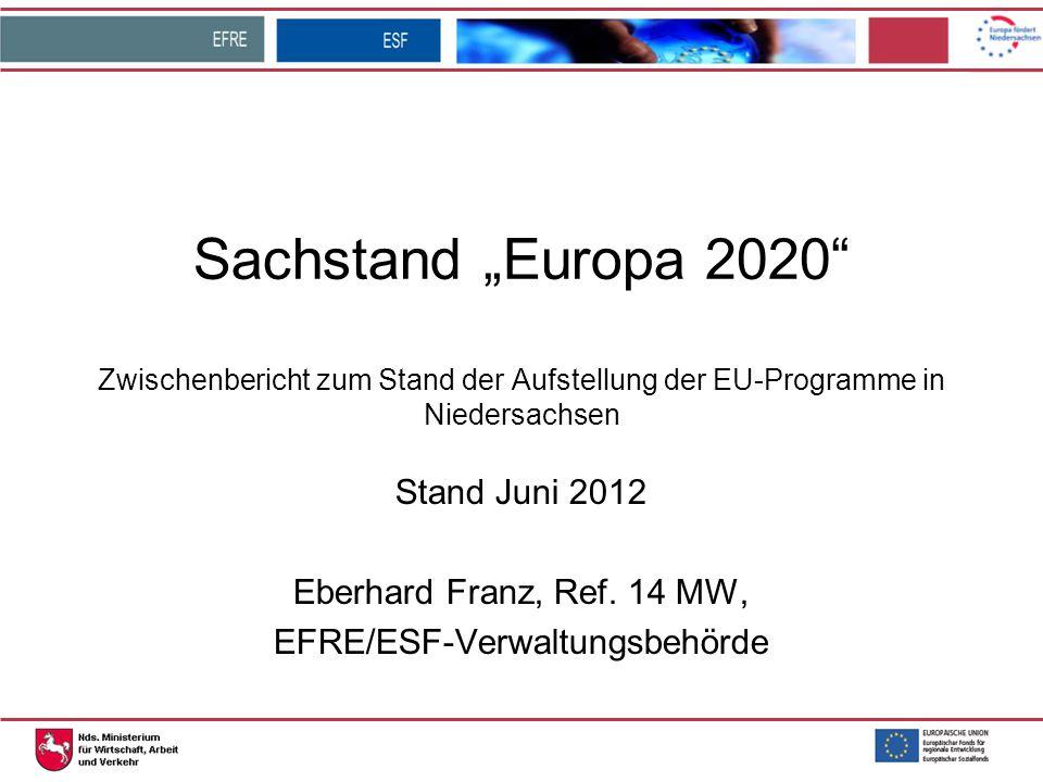 """Sachstand """"Europa 2020"""" Zwischenbericht zum Stand der Aufstellung der EU-Programme in Niedersachsen Stand Juni 2012 Eberhard Franz, Ref. 14 MW, EFRE/E"""