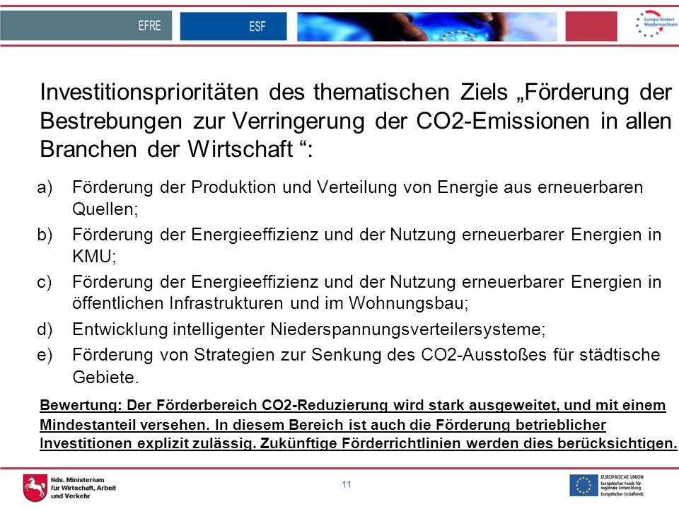 """11 Investitionsprioritäten des thematischen Ziels """"Förderung der Bestrebungen zur Verringerung der CO2-Emissionen in allen Branchen der Wirtschaft """":"""