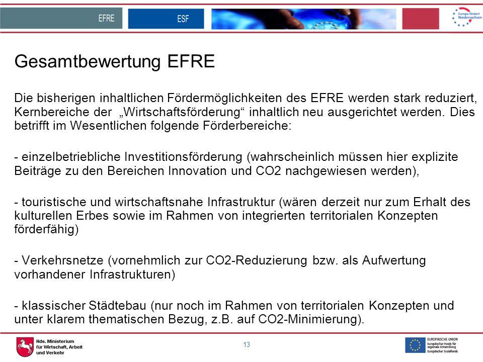 """13 Gesamtbewertung EFRE Die bisherigen inhaltlichen Fördermöglichkeiten des EFRE werden stark reduziert, Kernbereiche der """"Wirtschaftsförderung"""" inhal"""
