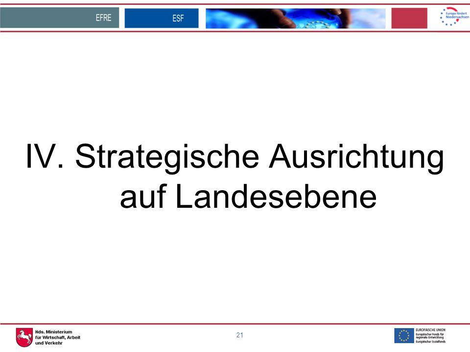 21 IV. Strategische Ausrichtung auf Landesebene