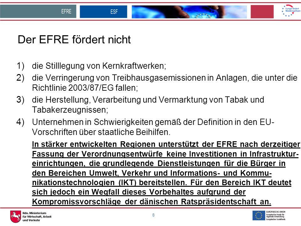 8 Der EFRE fördert nicht 1) die Stilllegung von Kernkraftwerken; 2) die Verringerung von Treibhausgasemissionen in Anlagen, die unter die Richtlinie 2