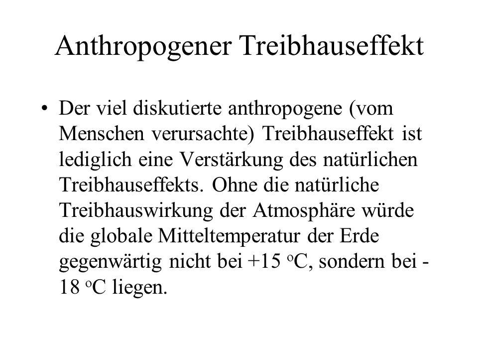 Anthropogener Treibhauseffekt Der viel diskutierte anthropogene (vom Menschen verursachte) Treibhauseffekt ist lediglich eine Verstärkung des natürlic