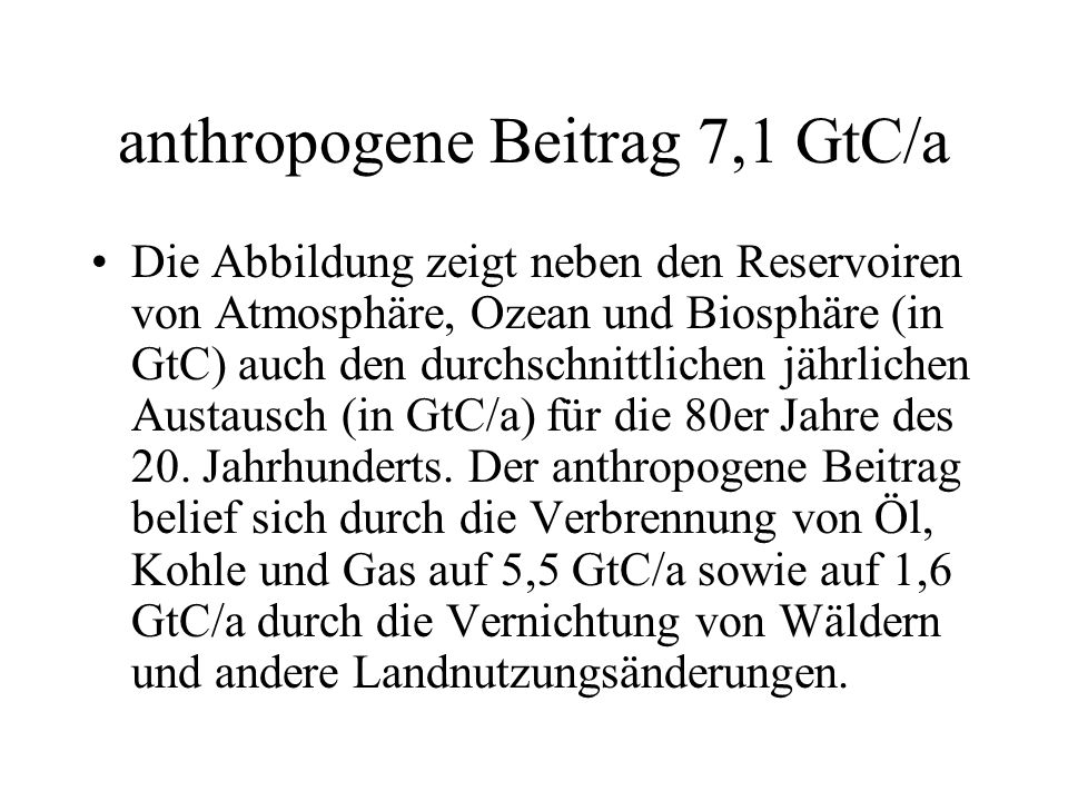 anthropogene Beitrag 7,1 GtC/a Die Abbildung zeigt neben den Reservoiren von Atmosphäre, Ozean und Biosphäre (in GtC) auch den durchschnittlichen jähr
