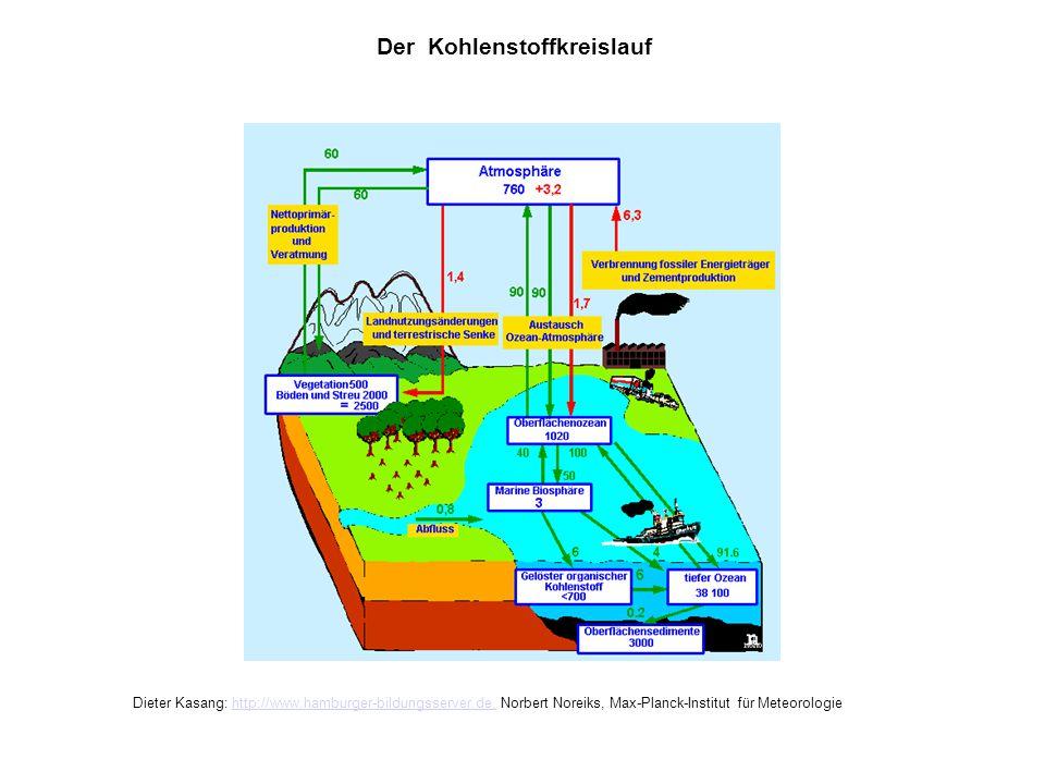 Kohlenstoffkreislauf Der Kohlenstoffkreislauf Dieter Kasang: http://www.hamburger-bildungsserver.de, Norbert Noreiks, Max-Planck-Institut für Meteorol