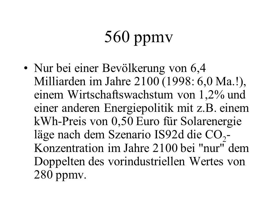 560 ppmv Nur bei einer Bevölkerung von 6,4 Milliarden im Jahre 2100 (1998: 6,0 Ma.!), einem Wirtschaftswachstum von 1,2% und einer anderen Energiepoli