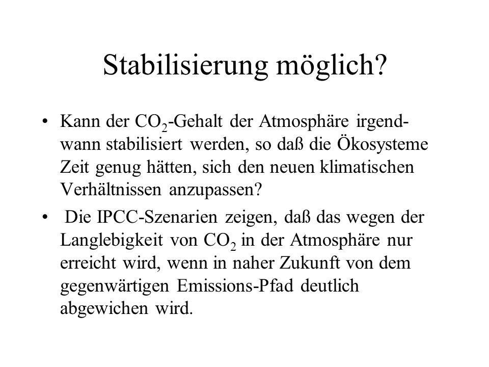 Stabilisierung möglich? Kann der CO 2 -Gehalt der Atmosphäre irgend- wann stabilisiert werden, so daß die Ökosysteme Zeit genug hätten, sich den neuen