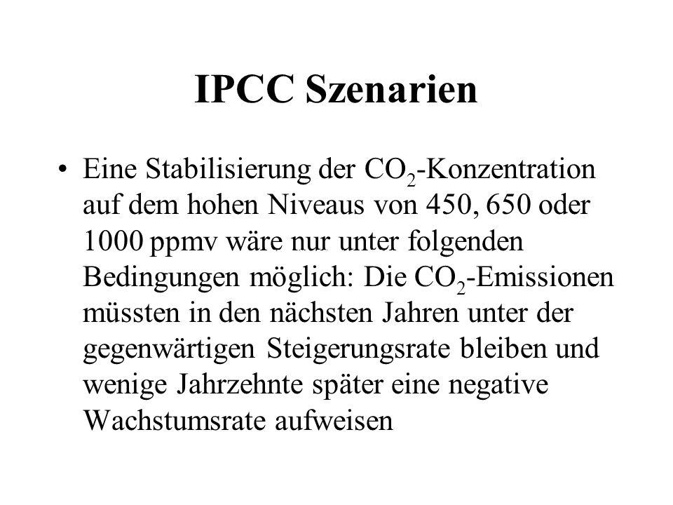 IPCC Szenarien Eine Stabilisierung der CO 2 -Konzentration auf dem hohen Niveaus von 450, 650 oder 1000 ppmv wäre nur unter folgenden Bedingungen mögl