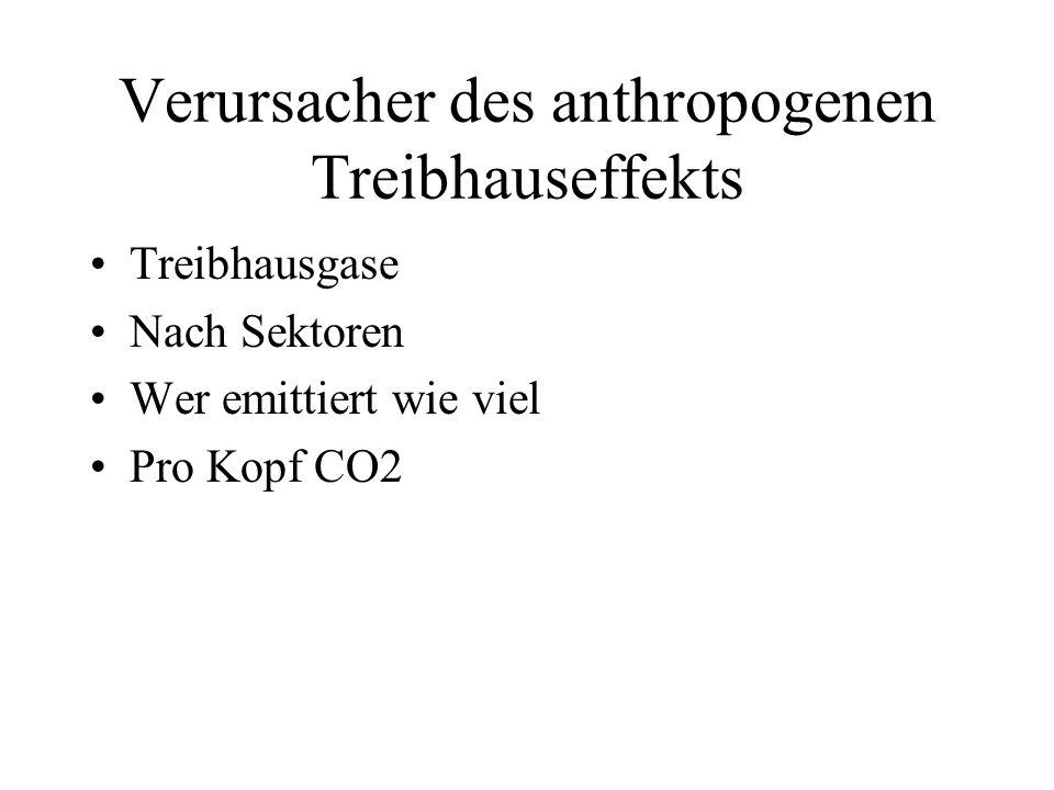 Verursacher des anthropogenen Treibhauseffekts Treibhausgase Nach Sektoren Wer emittiert wie viel Pro Kopf CO2