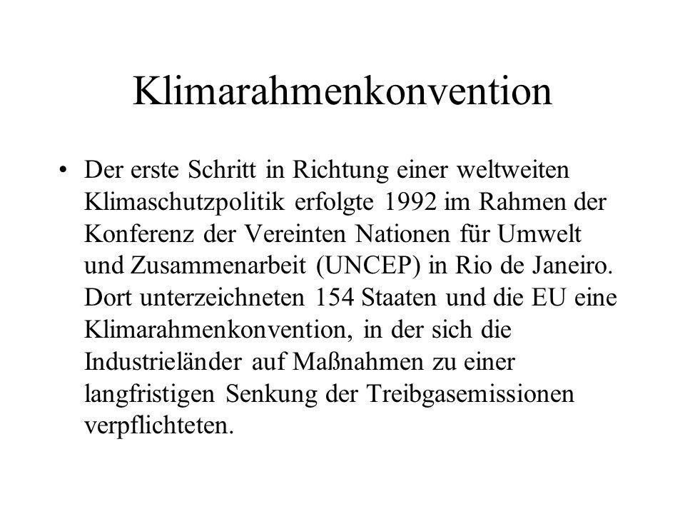 Klimarahmenkonvention Der erste Schritt in Richtung einer weltweiten Klimaschutzpolitik erfolgte 1992 im Rahmen der Konferenz der Vereinten Nationen f