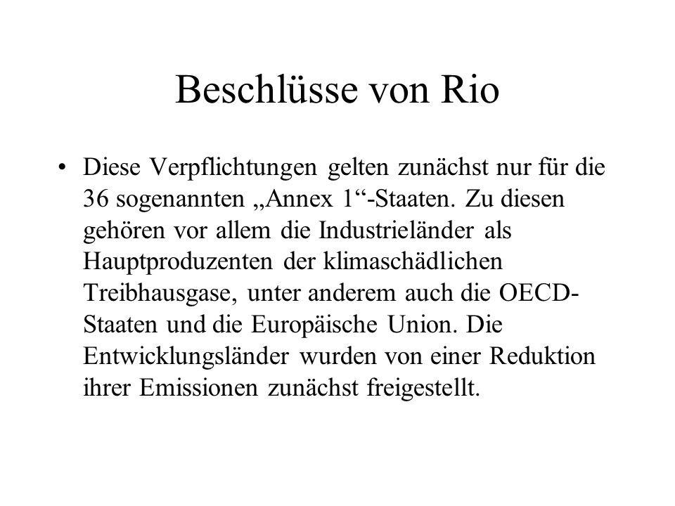 """Beschlüsse von Rio Diese Verpflichtungen gelten zunächst nur für die 36 sogenannten """"Annex 1""""-Staaten. Zu diesen gehören vor allem die Industrieländer"""