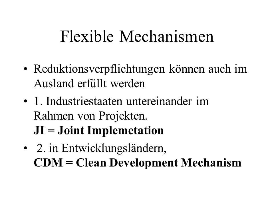 Flexible Mechanismen Reduktionsverpflichtungen können auch im Ausland erfüllt werden 1. Industriestaaten untereinander im Rahmen von Projekten. JI = J
