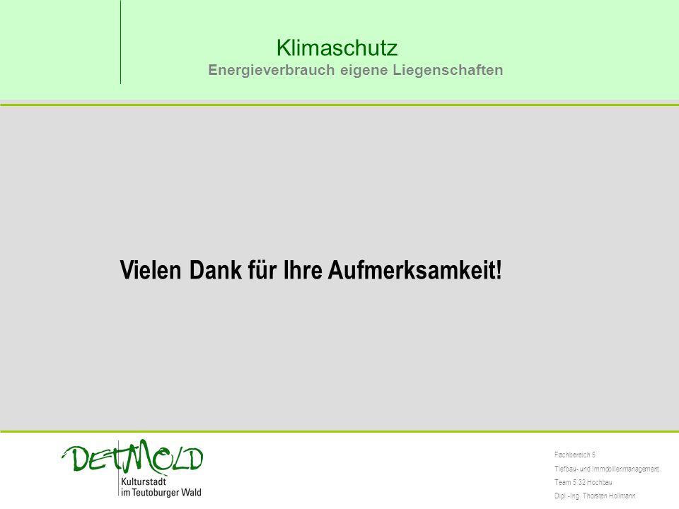 Klimaschutz Energieverbrauch eigene Liegenschaften Fachbereich 5 Tiefbau- und Immobilienmanagement Team 5.32 Hochbau Dipl.-Ing. Thorsten Hollmann Viel