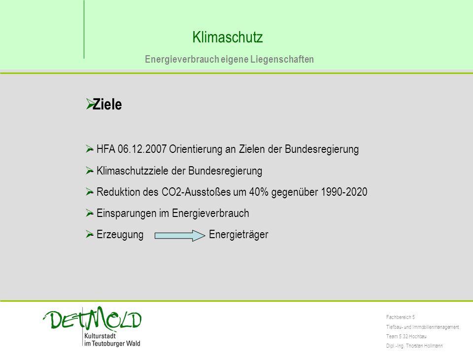 Klimaschutz Energieverbrauch eigene Liegenschaften Fachbereich 5 Tiefbau- und Immobilienmanagement Team 5.32 Hochbau Dipl.-Ing. Thorsten Hollmann  Zi