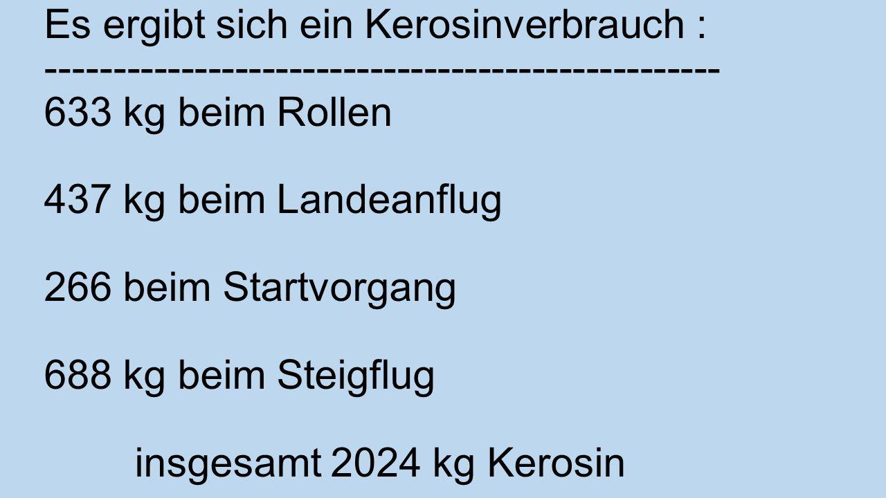 Es ergibt sich ein Kerosinverbrauch : -------------------------------------------------- 633 kg beim Rollen 437 kg beim Landeanflug 266 beim Startvorgang 688 kg beim Steigflug insgesamt 2024 kg Kerosin