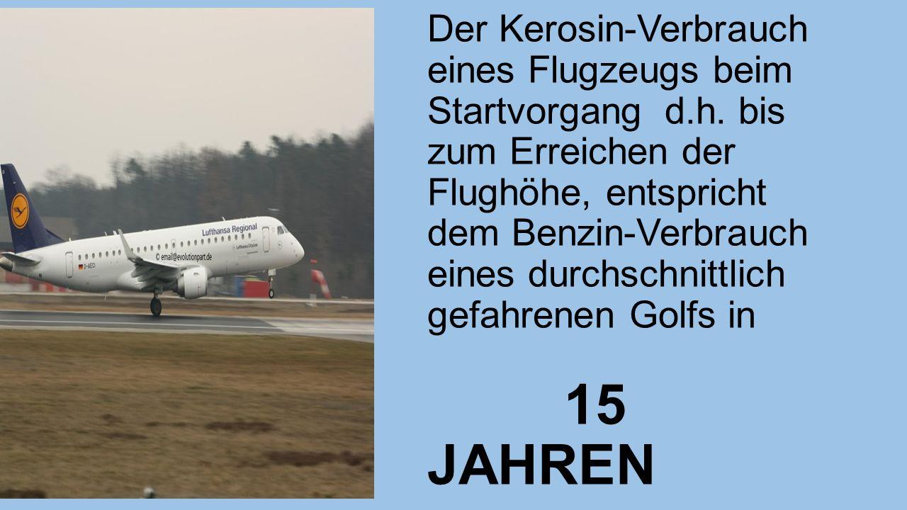 Der Kerosin-Verbrauch eines Flugzeugs beim Startvorgang d.h.