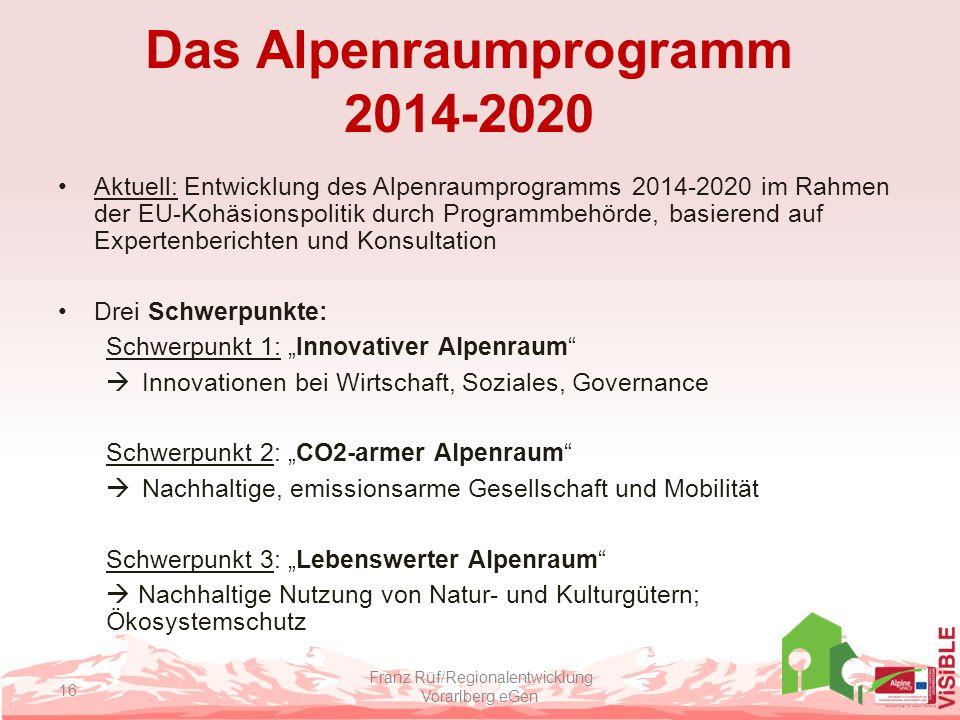 Das Alpenraumprogramm 2014-2020 Aktuell: Entwicklung des Alpenraumprogramms 2014-2020 im Rahmen der EU-Kohäsionspolitik durch Programmbehörde, basiere