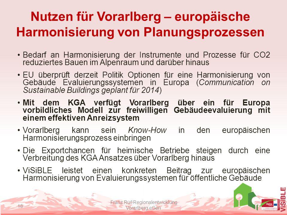 Nutzen für Vorarlberg – europäische Harmonisierung von Planungsprozessen Bedarf an Harmonisierung der Instrumente und Prozesse für CO2 reduziertes Bau