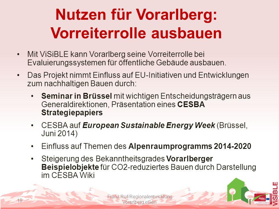 Nutzen für Vorarlberg: Vorreiterrolle ausbauen Mit ViSiBLE kann Vorarlberg seine Vorreiterrolle bei Evaluierungssystemen für öffentliche Gebäude ausba