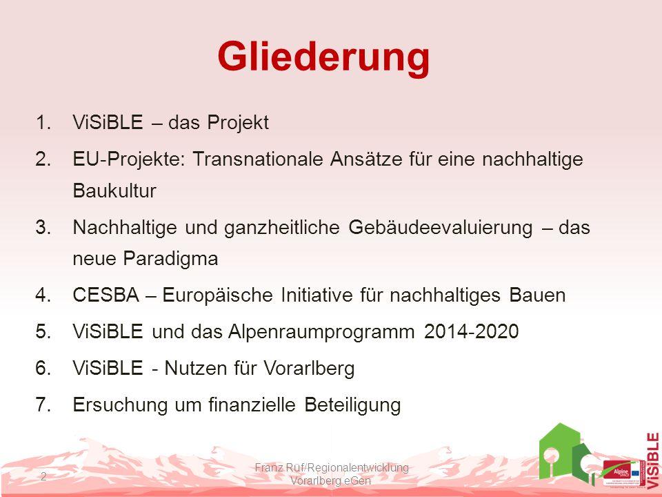CESBA: Ziele, Prinzipien Franz Rüf/Regionalentwicklung Vorarlberg eGen 13 Nachhaltigkeit Mensch im Mittelpunkt Realisierung von EU-Zielen Harmonisierung Regionale Adaptierbarkeit Open Source, massenorientiert, kostenfrei Vorbild öffentlicher Bau GRUNDLAGE: CESBA-Wiki