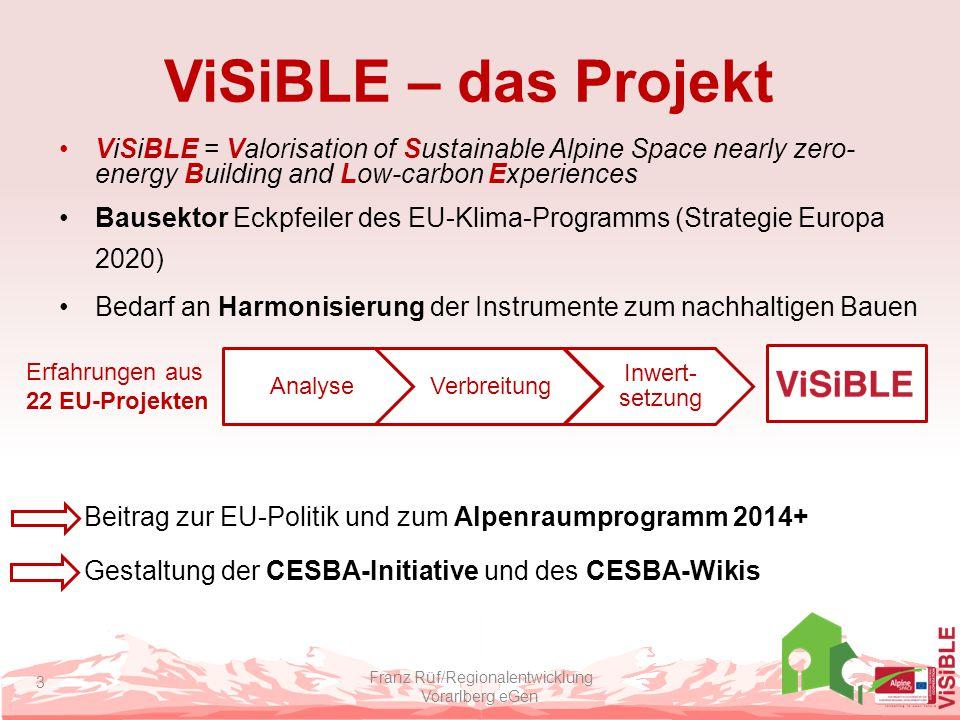 ViSiBLE – das Projekt Projekt des Alpenraumprogramms 5 Partner aus 4 EU-Staaten Lead Partner: Regionalentwicklung Vorarlberg eGen Projektbudget: 494.700 EUR Laufzeit: Sept.