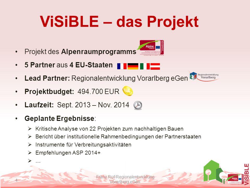 ViSiBLE – das Projekt Projekt des Alpenraumprogramms 5 Partner aus 4 EU-Staaten Lead Partner: Regionalentwicklung Vorarlberg eGen Projektbudget: 494.7