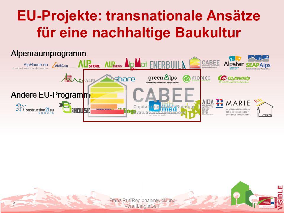 EU-Projekte: transnationale Ansätze für eine nachhaltige Baukultur Franz Rüf/Regionalentwicklung Vorarlberg eGen 5 Alpenraumprogramm Andere EU-Program