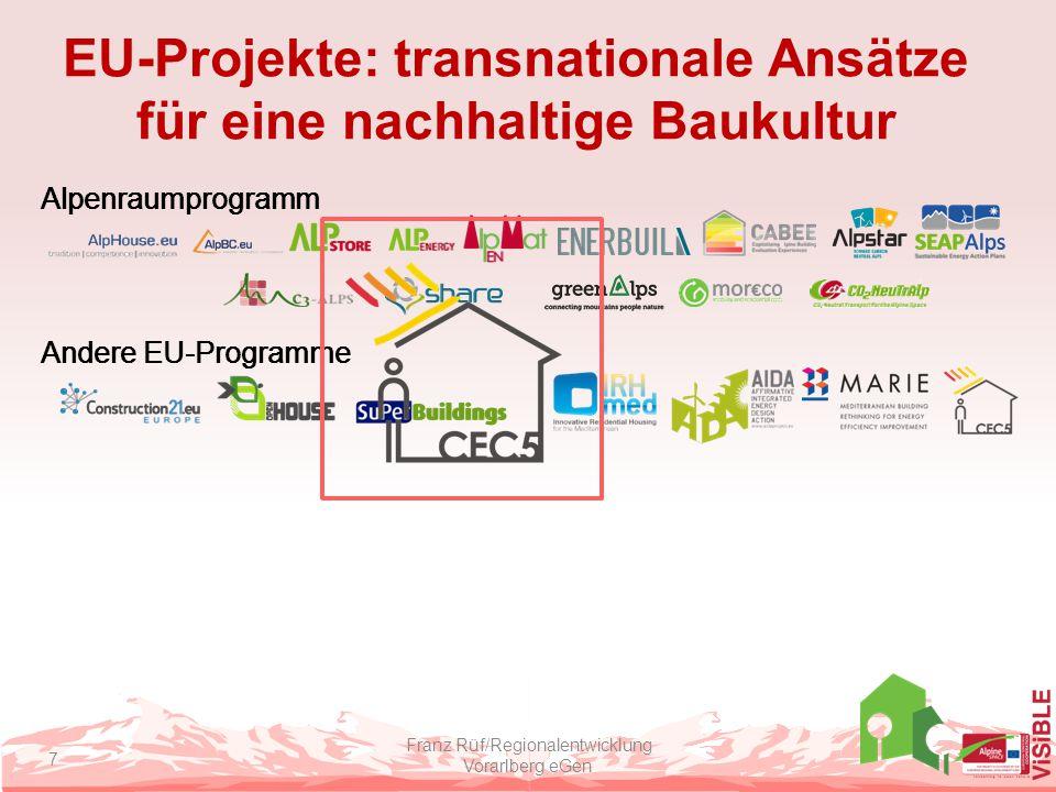 Das Projekt CEC5 Ziele Harmonisierter Standard zur Gebäude-evaluierung Stärkung der Bereitschaft für Niedrigenergiebauen 7 Mustergebäude im Bereich öffentlicher Bau Projektstatus Laufend Beitrag zu ViSiBLE Erfahrungen in Mustergebäuden Analyse von Gebäudeevaluierungssystemen Netzwerkbildung Franz Rüf/Regionalentwicklung Vorarlberg eGen 8