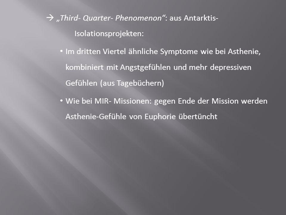 """ """"Third- Quarter- Phenomenon"""": aus Antarktis- Isolationsprojekten: Im dritten Viertel ähnliche Symptome wie bei Asthenie, kombiniert mit Angstgefühle"""