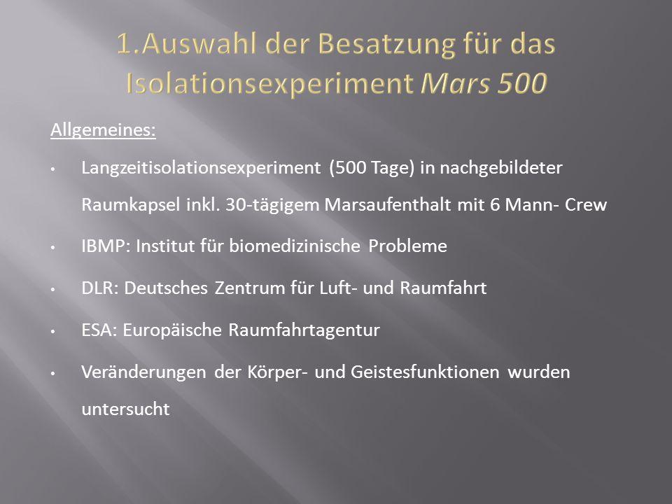 Allgemeines: Langzeitisolationsexperiment (500 Tage) in nachgebildeter Raumkapsel inkl. 30-tägigem Marsaufenthalt mit 6 Mann- Crew IBMP: Institut für