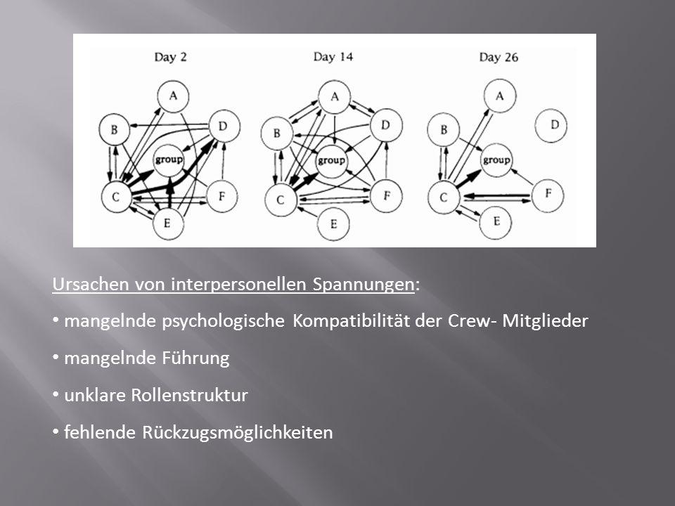 Ursachen von interpersonellen Spannungen: mangelnde psychologische Kompatibilität der Crew- Mitglieder mangelnde Führung unklare Rollenstruktur fehlen
