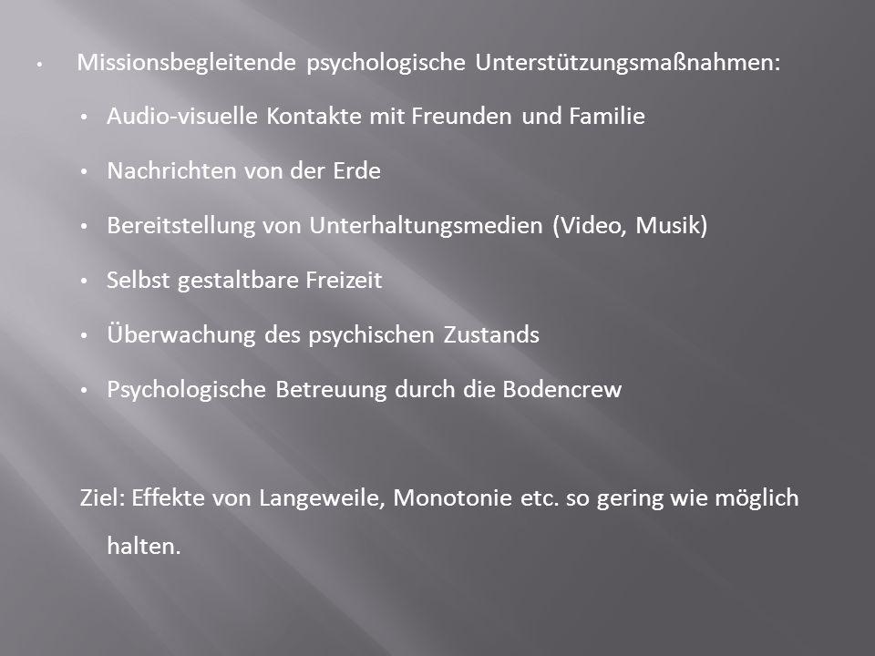 Missionsbegleitende psychologische Unterstützungsmaßnahmen: Audio-visuelle Kontakte mit Freunden und Familie Nachrichten von der Erde Bereitstellung v
